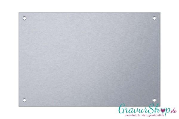 Edelstahlschild 200 x 130 mm mit Gravur - 4 Bohrungen mit Schrauben