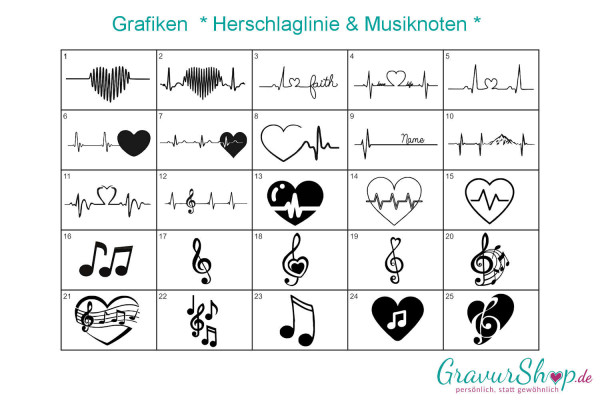 Herzschlag & Musiknoten zum gravieren