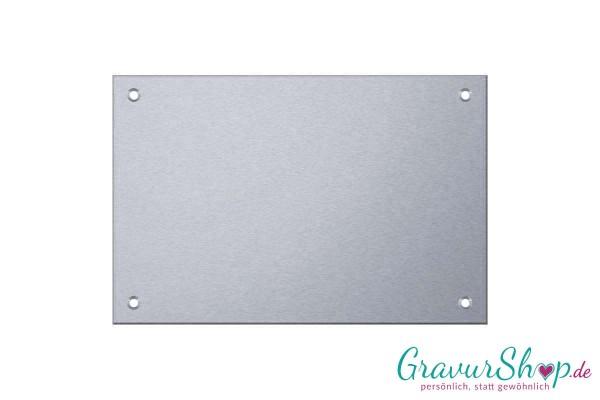 Edelstahlschild 100 x 70 mm mit Gravur, 4 Bohrungen