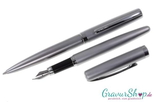 Online Eleganza Schreibset Silber mit Gravur