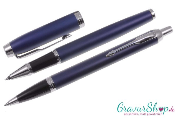 Parker IM Tintenroller Kugelschreiber matte blue mit Gravur