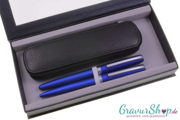 Online Eleganza Schreibset Blau mit Gravur+ Lederetui