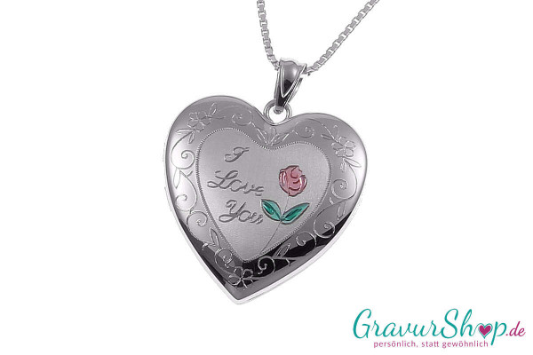 Silber Medaillon mit Gravur 01