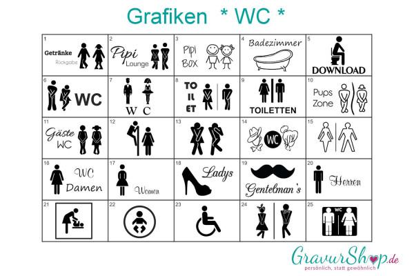 WC - Toiletten Grafiken zum gravieren