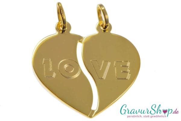 Gold Partneranhänger 12 mit Gravur