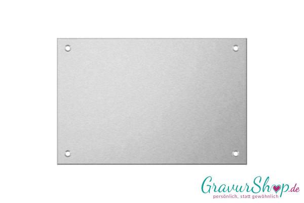 Aluminiumschild 100 x 70 mm mit Gravur; 4 Bohrungen