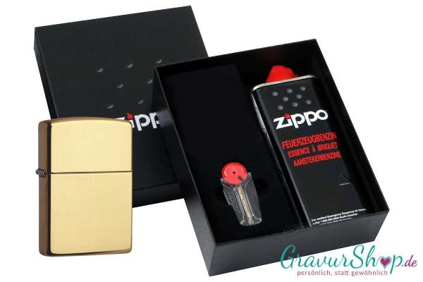 Zippo Geschenk Set mit Zippo Messing poliert