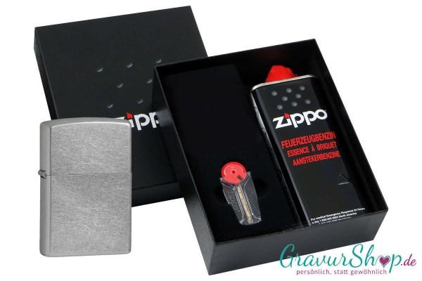 Zippo Geschenk Set mit Zippo Street Chrom