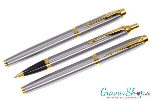 Parker-IM- 3teilig Tintenroller-Füllhalter-Kugelschreiber brushed-gold-mit Gravur