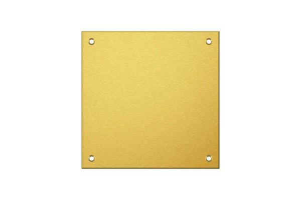 Messingschild 125 x 125 mm mit 4 Bohrungen und Gravur