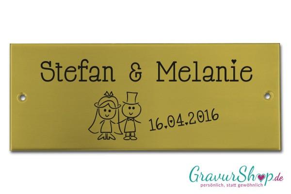 Hochzeitsschild mit Gravur 01 Messing