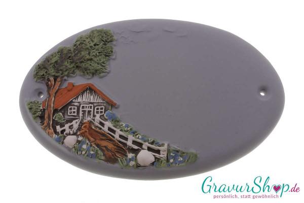 Keramikschild 10 grau mit Gravur