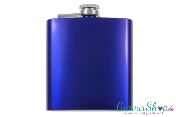 Flachmann 20 K marineblau mit Gravur
