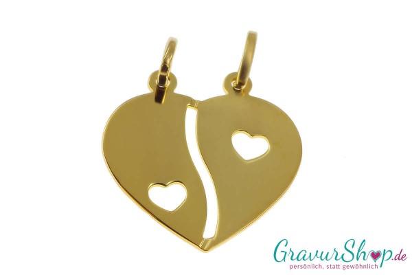 Gold Partneranhänger 09 mit Gravur