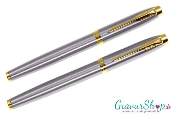 Parker-IM-Tintenroller-Füllhalter brushed-gold-mit Gravur