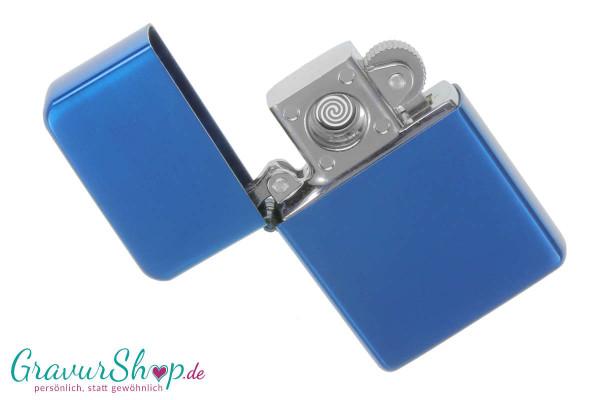 USB Glühspirale Feuerzeug blau mit Gravur
