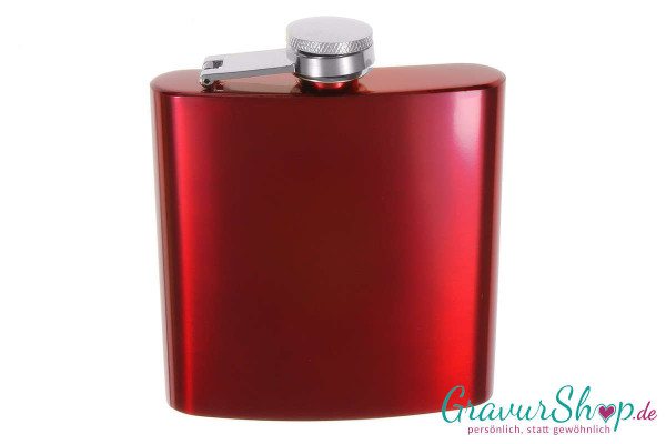 Flachmann 20 N Rot mit Gravur