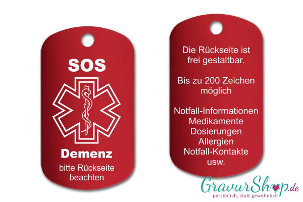 Demenz - SOS Notfallkette, Notfallanhänger mit Gravur - rot