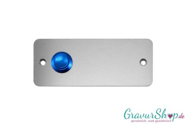 Edelstahl Klingelschild mit blauem Klingeltaster, Ausführung links