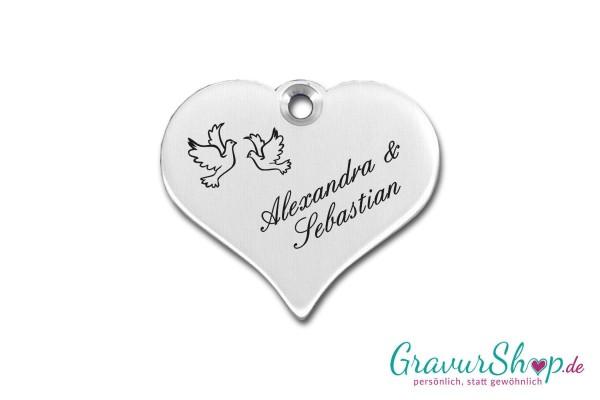 Hochzeitsschild mit Gravur 05 Aluminium