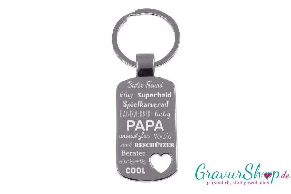 Schlüsselanhänger mit Gravur Papa Beschützer Superheld