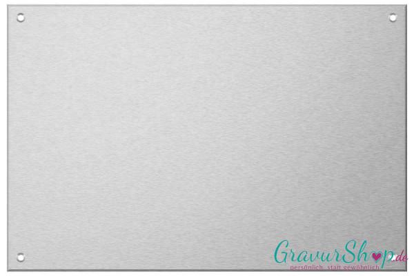 Aluminiumschild 300 x 200 mm mit Gravur; 4 Bohrungen