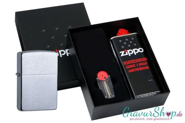 Zippo Geschenk Set mit Zippo Chrom gebürstet