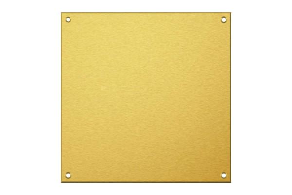 Messingschild 200 x 200 mm mit 4 Bohrungen und Gravur