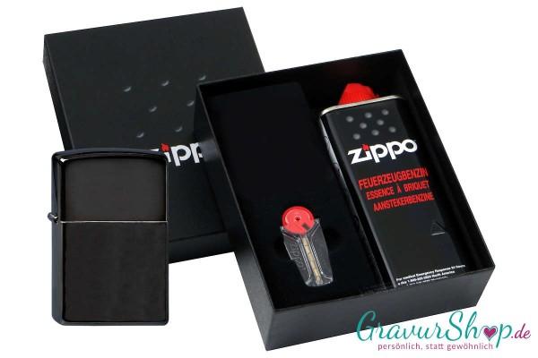 Zippo Geschenk Set mit Zippo Ebony