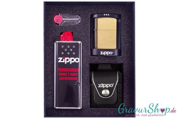 Zippo Set 2 - Messing gebürstet