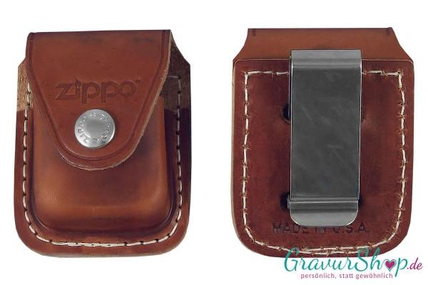 Zippo Ledertasche Braun mit Clip