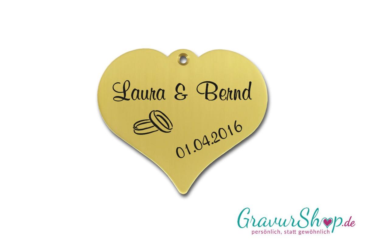 Hochzeitsschild mit Gravur aus Messing | GravurShop