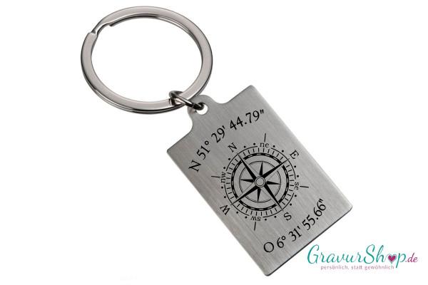 Schlüsselanhänger mit Kompass und Koordinaten