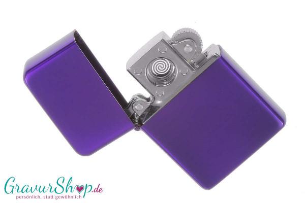 USB Glühspirale Feuerzeug lila mit Gravur