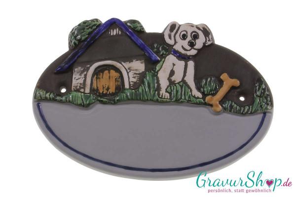 Keramikschild 32 grau mit Gravur