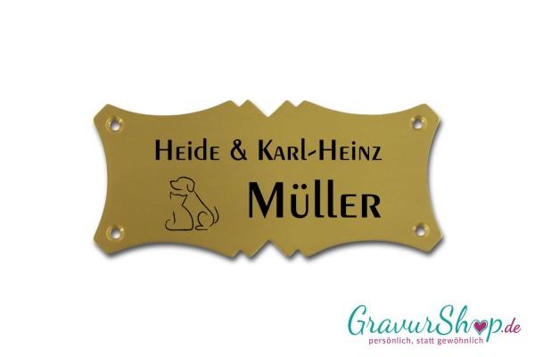 Schild mit Hund oder Katze und Namen