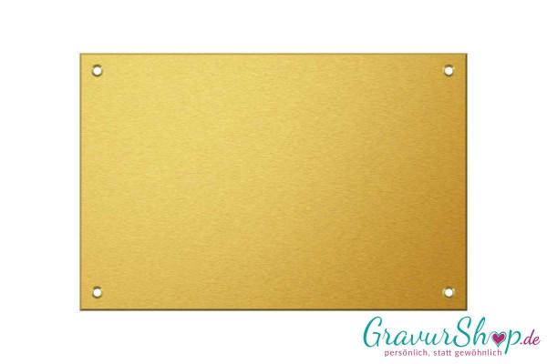 Messingschild 150 x 100 mm mit Bohrungen und Gravur