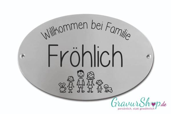Familien-Schild 02 * Edelstahl