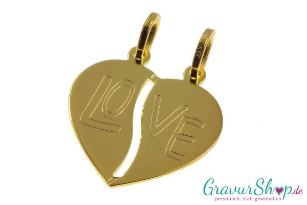 Gold Partneranhänger 04 mit Gravur