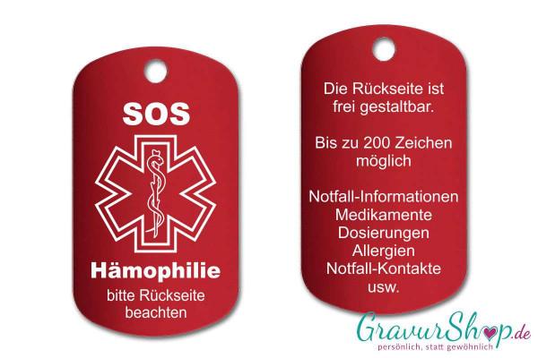 Hämophilie, Bluter - SOS Notfallkette, Notfallanhänger mit Gravur - rot