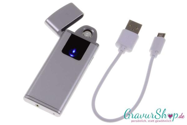 USB Glühspirale Feuerzeug 10 silber mit Gravur