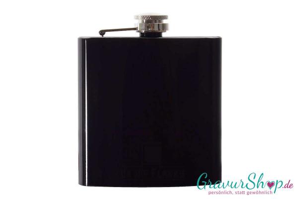 Flachmann 20 I mit Gravur glänzend schwarz