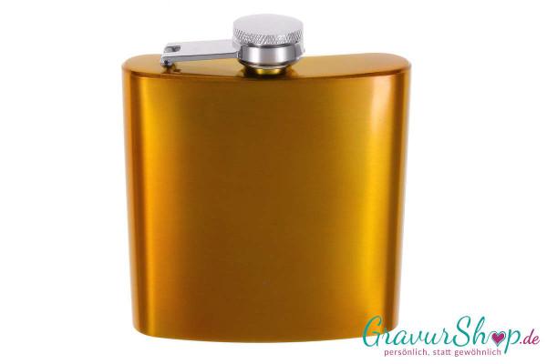 Flachmann 20 M gold glänzend mit Gravur