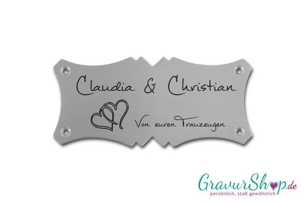 Hochzeitsschild mit Gravur 04 Edelstahl