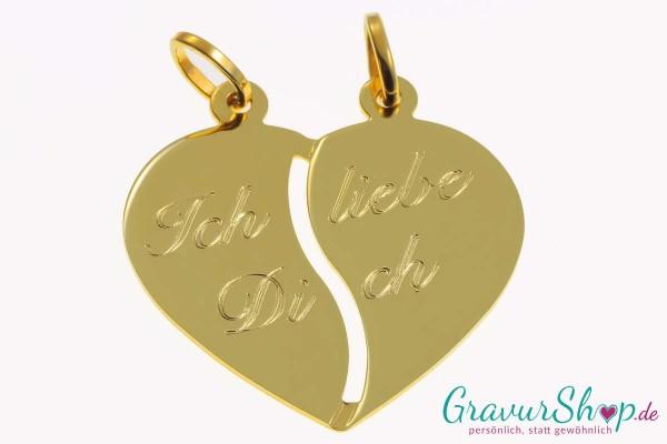Gold Partneranhänger 14 mit Gravur