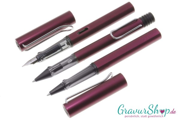 LAMY AL star 3er Set Füller-Kuli-Tintenroller purple mit Gravur