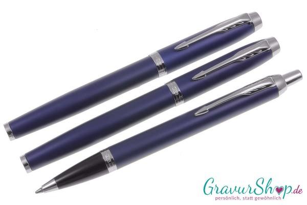 Parker-IM- 3teilig Tintenroller-Füllhalter-Kugelschreiber matte blue mit Gravur