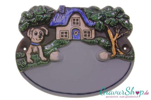 Keramikschild 03 grau mit Gravur