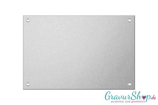Aluminiumschild 150 x 100 mm mit Gravur; 4 Bohrungen