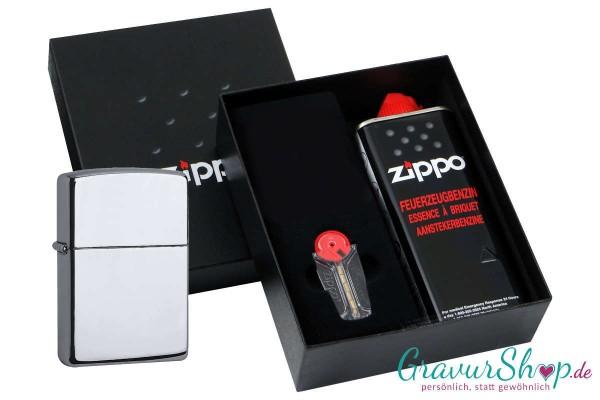 Zippo Geschenk Set mit Zippo Chrom poliert